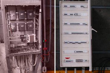 Partie gauche : armoire hors service, matériel déposé /// Partie droite : armoire et transformateur